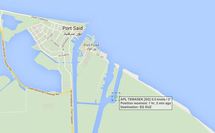 Position of APL Temasek as of 2015-11-02 16:51 UTC. Image: MarineTraffic.com