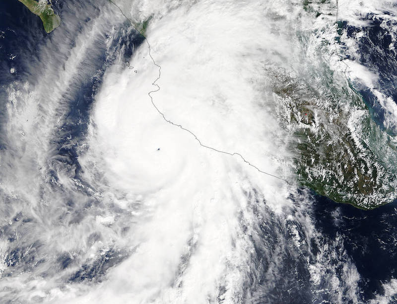 Hurricane Patricia as seen from NASA's Terra satellite on Oct. 23 at 17:30 UTC (1:30 p.m. EDT). Credits: NASA's Goddard MODIS Rapid Response Team