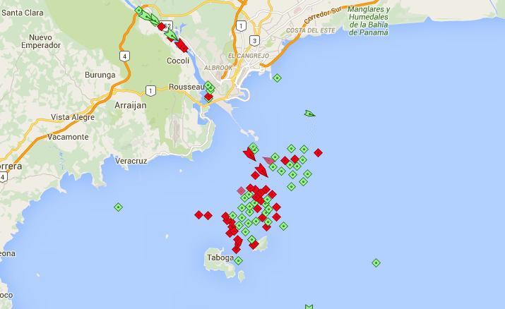 Cargo ships and tankers seen at anchor on the Pacific side of the Panama Canal on November 11, 2015, according to AIS data from MarineTraffic.com.