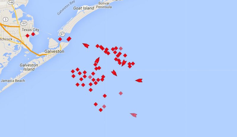 Tankers seen at anchor off the coast of Galveston, Texas, November 10, 2015. Image: MarineTraffic.com