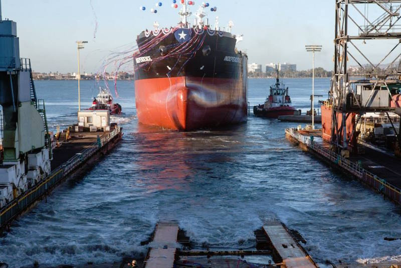 The ECO-class ship Independence is launched into San Diego Bay at NASSCO shipyard, December 12, 2015. Photo: General Dynamics NASSCO
