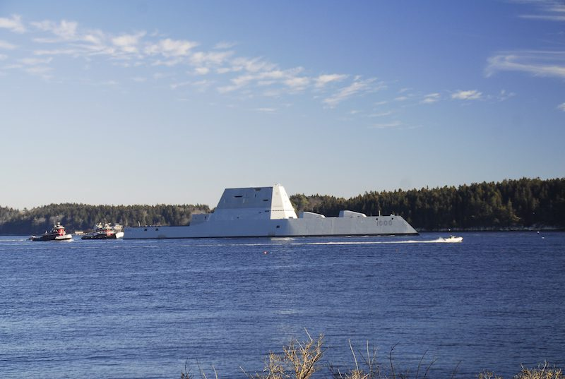 KENNEBEC RIVER (Dec. 7, 2015) The future USS Zumwalt (DDG 1000) is underway for the first time conducting at-sea tests and trials on the Kennebeck River. U.S. Navy Photo