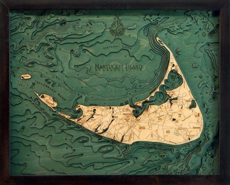 nantucket island wood chart art