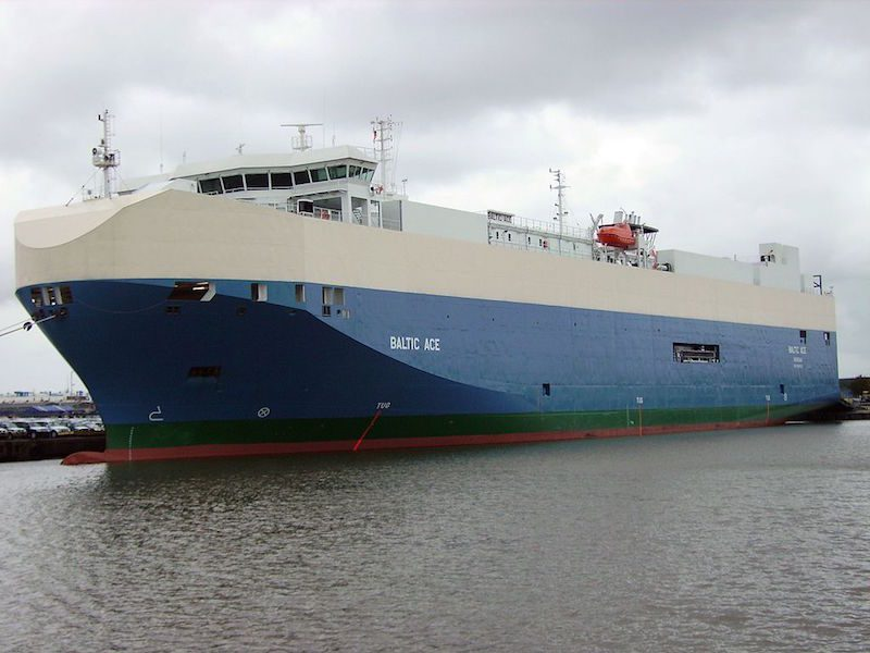 The Baltic Ace car carrier.
