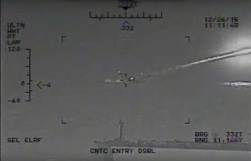 A still image of video the U.S. Navy says shows Iranian Islamic Revolutionary Guard Corps Navy (IRGCN) craft firing several unguided rockets in close proximity to the USS Harry S. Truman (CVN 75), USS Bulkeley (DDG 84), and the French frigate FS Provence (D 652), along with other commercial traffic, as they were transiting the Strait of Hormuz into the Arabian Gulf in an internationally recognized maritime traffic lane. U.S. Navy Photo