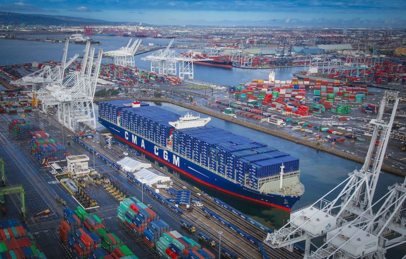 CMA CGM Benjamin Franklin at the port of Long Beach for its inauguration in February. Photo credit: Port of Long Beach