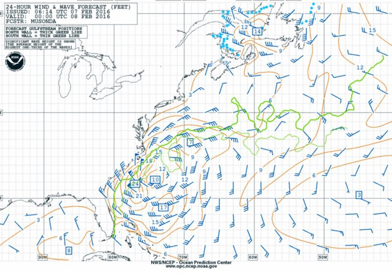 NOAA 24hr wind wave forecast for Sunday evening