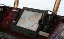 Electronic Chart Display (ECDIS) aboard ship bridge