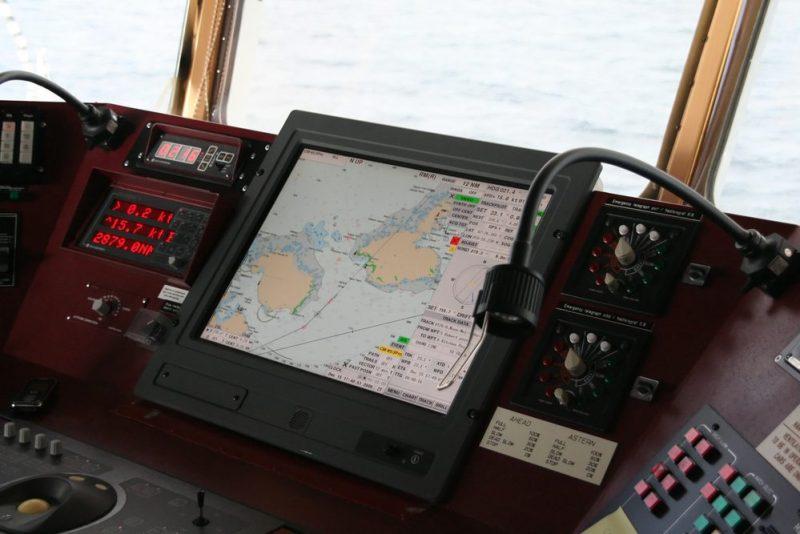 Electronic Chart Display (ECDIS) aboard ship bridge