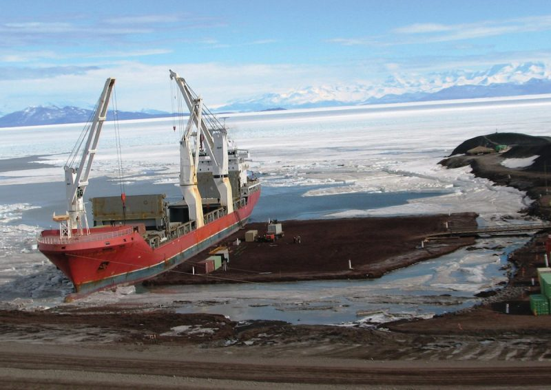 The MSC-chartered MV Ocean Giant delivers nearly 7 million pounds of supplies to McMurdo Station as part of the annual Operation Deep Freeze mission. U.S. Navy Photo