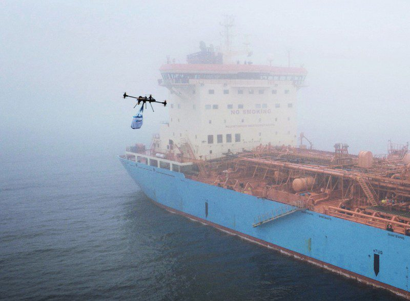 A drone flies towards Maersk Tankers' ship Maersk Edgar. Photo credit: Maersk Tankers