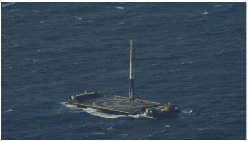 """The Falcon 9 rocket after landing on the """"Of Course I Still Love You"""" drone ship. Photo: SpaceX"""