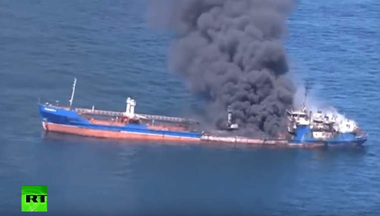 Smoke pours from the Palflot 2 tanker in the Caspian Sea, April 23, 2016. Photo: RT
