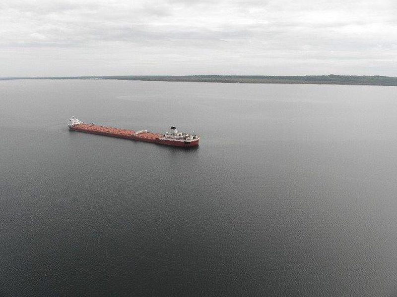 The motor vessel Roger Blough sits grounded in the vicinity of Gros Cap Reef in Whitefish Bay, Lake Superior, May 27, 2016. U.S. Coast Guard Photo