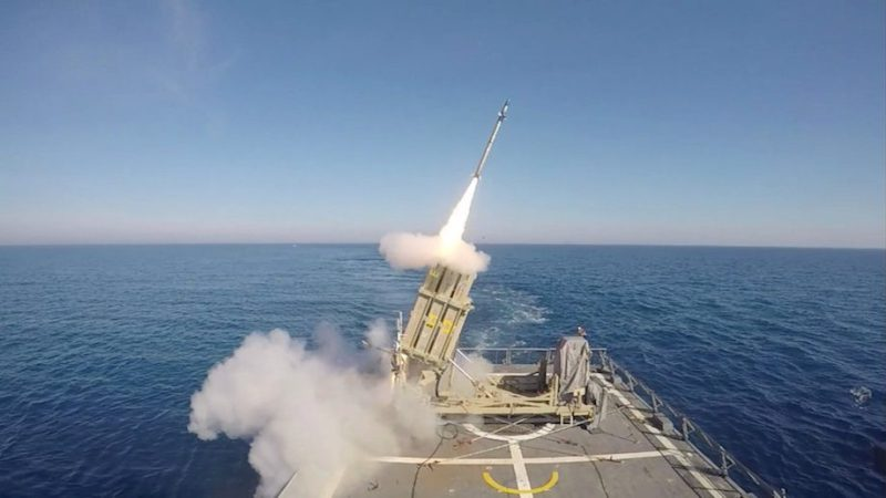 A screen-shot taken from Israel Defence Forces (IDF) handout video footage received on May 18, 2016, shows a test-firing of a version of Israel's Iron Dome missile interceptor that can be fired from the deck of a cruising navy ship, in Israel's territorial waters. Handout via REUTERS.