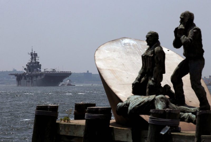 American Merchant Mariners' Memorial is seen as the wasp-class amphibious assault ship USS Bataan arrives in New York Harbor to mark the beginning of Fleet Week in New York City, U.S., May 25, 2016. REUTERS/Brendan McDermid