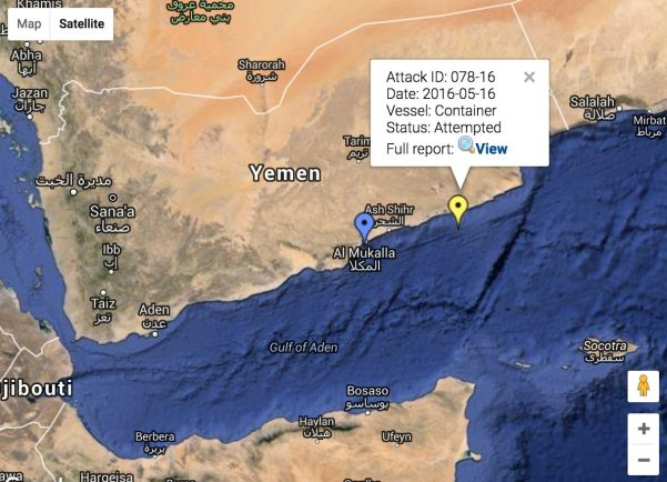 IMB Piracy Reporting Centre's Live Piracy May showing piracy incidents in the Gulf of Aden in 2016, with Monday's attack highlighted. Credit: IMB