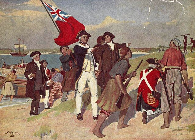 Landing of Captain Cook at Botany Bay 1770, painting by E. Phillips Fox; State Library of Victoria