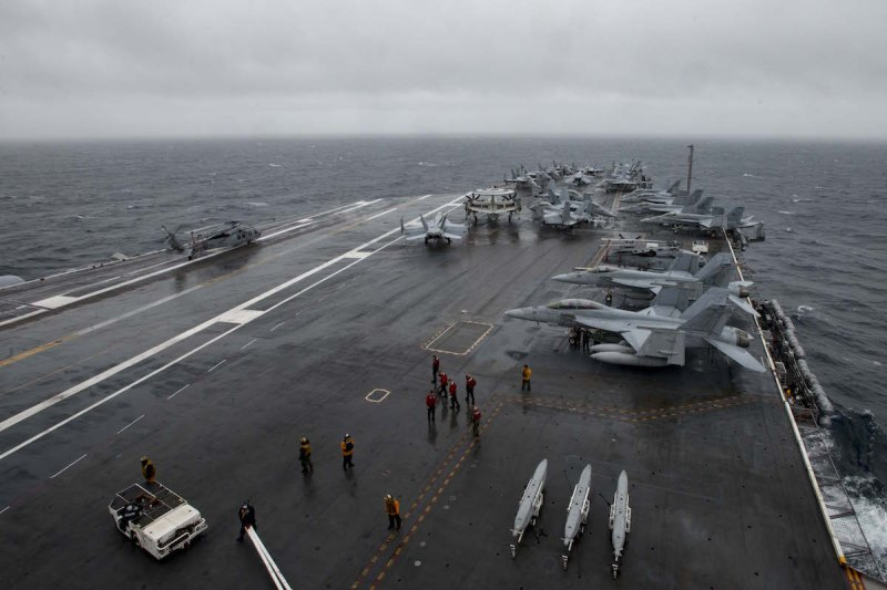The aircraft carrier USS Dwight D. Eisenhower (CVN 69) enters the U.S. 6th Fleet area of operations in the Atlantic Ocean, June 8, 2016. U.S. Navy Photo