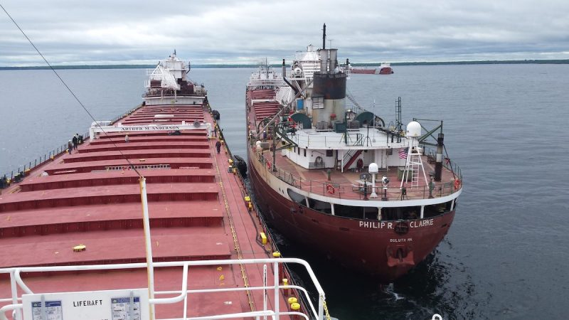 The U.S. Coast Guard continues to monitor and respond to the motor vessel Roger Blough June 6, 2016, after the vessel ran aground May 27 on Gros Cap Reef in Whitefish Bay in Lake Superior. Lightering operations continue while the vessel is anchored in Waiska Bay to transfer its cargo to the Philip R. Clarke and Arthur M. Anderson. (Photo courtesy of Ken Gerasimos, Key Lakes Shipping)