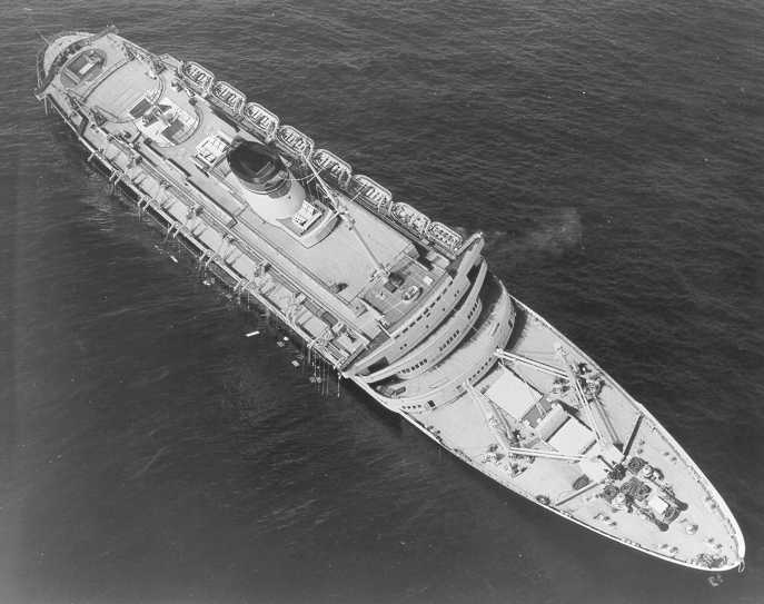 The Andrea Doria before capsizing and sinking in the Atlantic Ocean, July 26, 1956. U.S. Coast Guard Photo