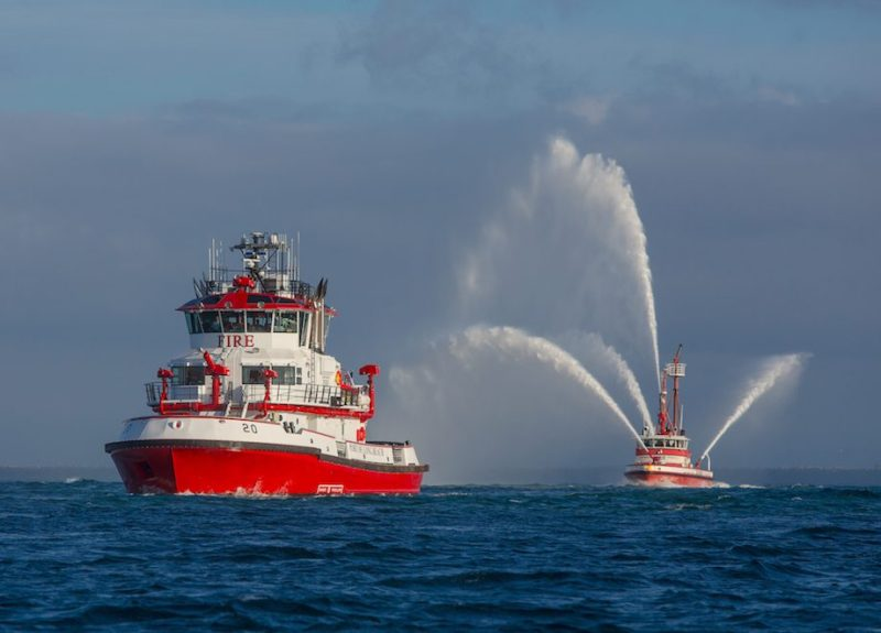 Fireboat 20 (Protector) arrives at the Port of Long Beach. Credit: Port of Long Beach