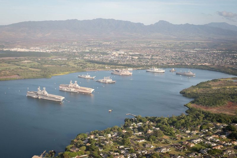 160701-N-SI773-264 PEARL HARBOR (July 1, 2016) An aerial view of ships moored at Joint Base Pearl Harbor-Hickam for Rim of the Pacific 2016. Twenty-six nations, more than 40 ships and submarines, more than 200 aircraft, and 25,000 personnel are participating in RIMPAC from June 30 to Aug. 4, in and around the Hawaiian Islands and Southern California. The world's largest international maritime exercise, RIMPAC provides a unique training opportunity that helps participants foster and sustain the cooperative relationships that are critical to ensuring the safety of sea lanes and security on the world's oceans. RIMPAC 2016 is the 25th exercise in the series that began in 1971. (U.S. Navy Combat Camera photo by Mass Communication Specialist First Class Ace Rheaume/Released)