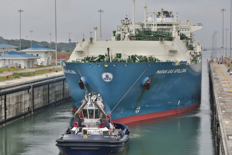 LNG carrier Maran Gas Apollonia in the Agua Clara locks on the Atlantic side of the Panama Canal, Monday, July 27, 2016. Photo: Panama Canal Authority (ACP)