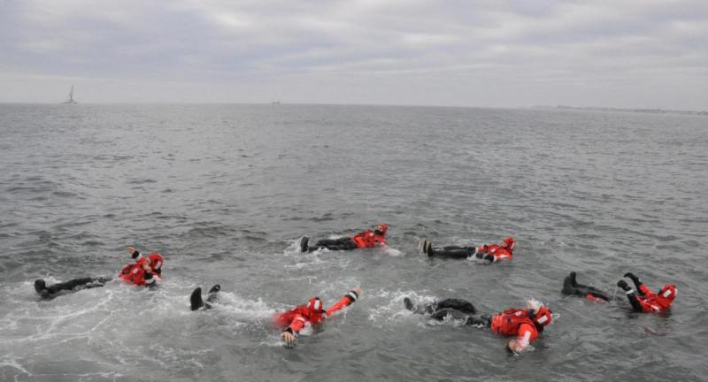 USCG Crew Survival, Practice Training At Sea