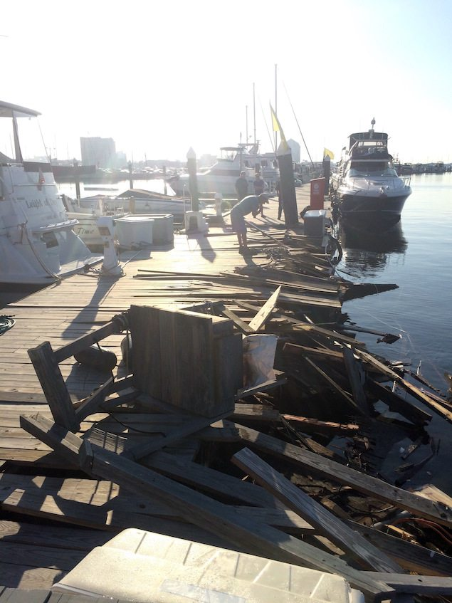 Damage sustained to the pier after the passenger vessel Spirit of Baltimore allided with the pier Sunday, Aug. 28, 2016. U.S Coast Guard photo by Chief Warrant Officer Tom Davan