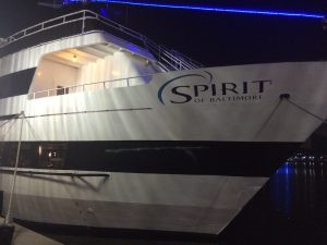 The Spirit of Baltimore, a passenger vessel, sustained superficial damage after alliding with the pier at Henderson Wharf Marina in Baltimore Sunday, Aug. 28, 2016. U.S. Coast Guard photo by Chief Warrant Officer Tom Davan