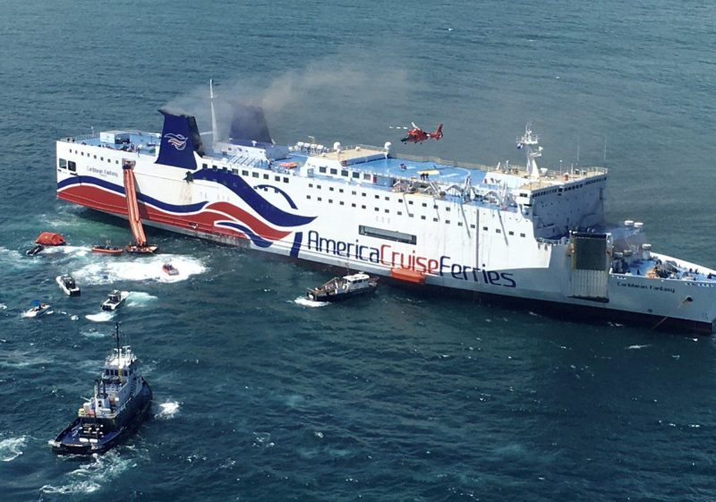 Coast Guard and other assets respond to the Caribbean Fantasy off the coast of Puerto Rico on Wednesday, August 17, 2016. U.S. Coast Guard Photo