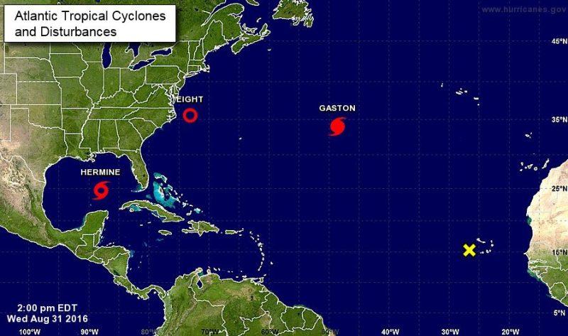 Current disturbances in the Atlantic. Image: National Hurricane Center
