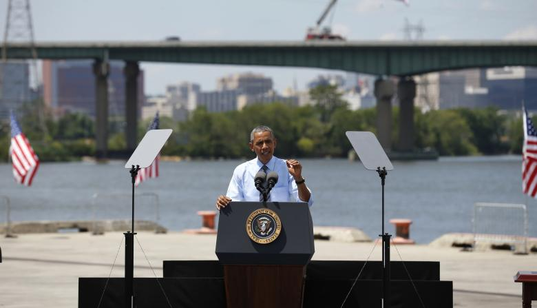 U.S. President Barack Obama speaks about transportation infrastructure during a visit to the Port of Wilmington in Wilmington, Delaware, U.S. on July 17, 2014. TO MOVE WITH SPECIAL REPORT USA-DELAWARE/BULLOCK REUTERS/Kevin Lamarque/File Photo