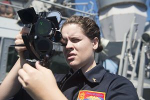 USMMA Cadet taking a Sun Line Sight with a sextant