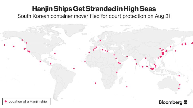Hanjin Ship Locations