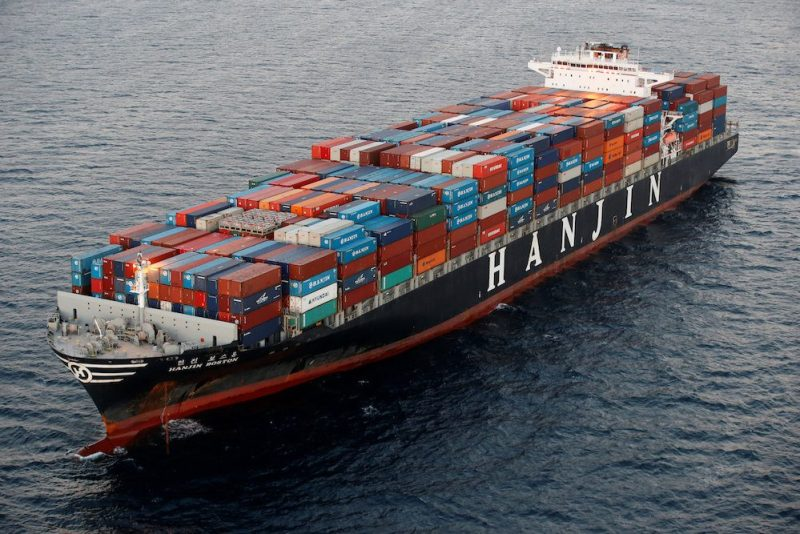 A Hanjin Shipping Co ship is seen stranded outside the Port of Long Beach, California, September 8, 2016. REUTERS/Lucy Nicholson