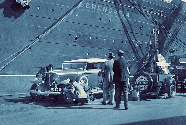 A Chrysler motor vehicle being serviced after passage on the RMS Berengaria during the 1930's.