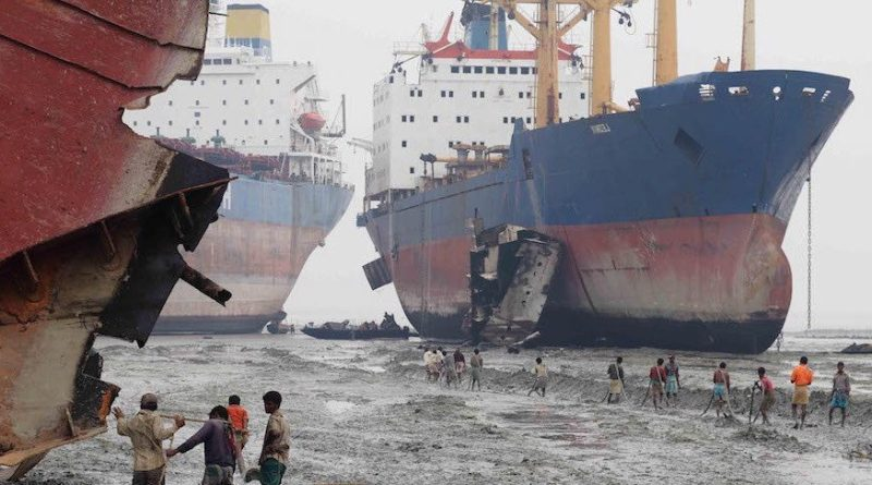 Shipbreaking at Alang, India.