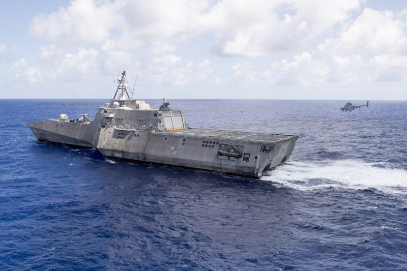 161006-N-MW990-149 PACIFIC OCEAN (October 06, 2016) One of Helicopter Combatant Squadron 23's MQ-8B Fire Scouts prepares to land aboard littoral combat ship USS Coronado (LCS 4). Currently on a rotational deployment in support of the Asia-Pacific Rebalance, Coronado is a fast and agile warship tailor-made to patrol the region's littorals and work hull-to-hull with partner navies, providing 7th Fleet with the flexible capabilities it needs now and in the future. (U.S. Navy photo by Petty Officer Second Class Michaela Garrison/Released)