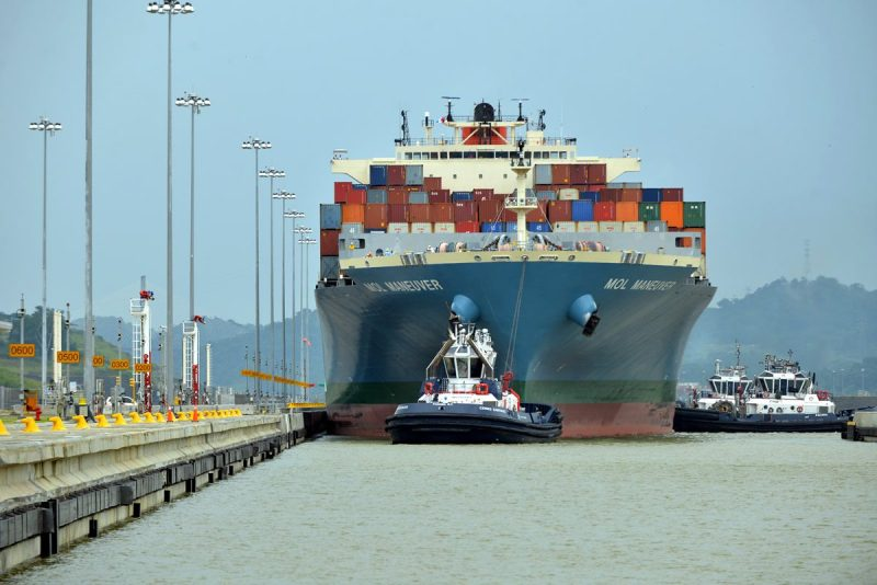 The containership MOL Maneuver in the new locks of the expanded Panama Canal. Photo: ACP