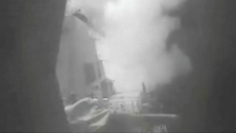 A still image from video released October 13, 2016 shows U.S. military launching cruise missile strikes from U.S. Navy destroyer USS Nitze to knock out three coastal radar sites in areas of Yemen controlled by Houthi forces. REUTERS/DIVIDS via Reuters TV ATTENTION EDITORS - THIS IMAGE WAS PROVIDED BY A THIRD PARTY. EDITORIAL USE ONLY. THIS PICTURE WAS PROCESSED BY REUTERS TO ENHANCE QUALITY. AN UNPROCESSED VERSION HAS BEEN PROVIDED SEPARATELY.