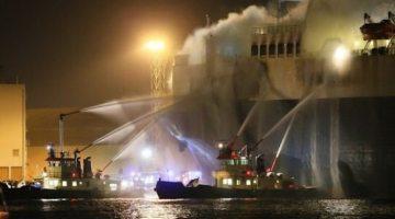 Car Carrier Catches Fire at Antwerp Dock