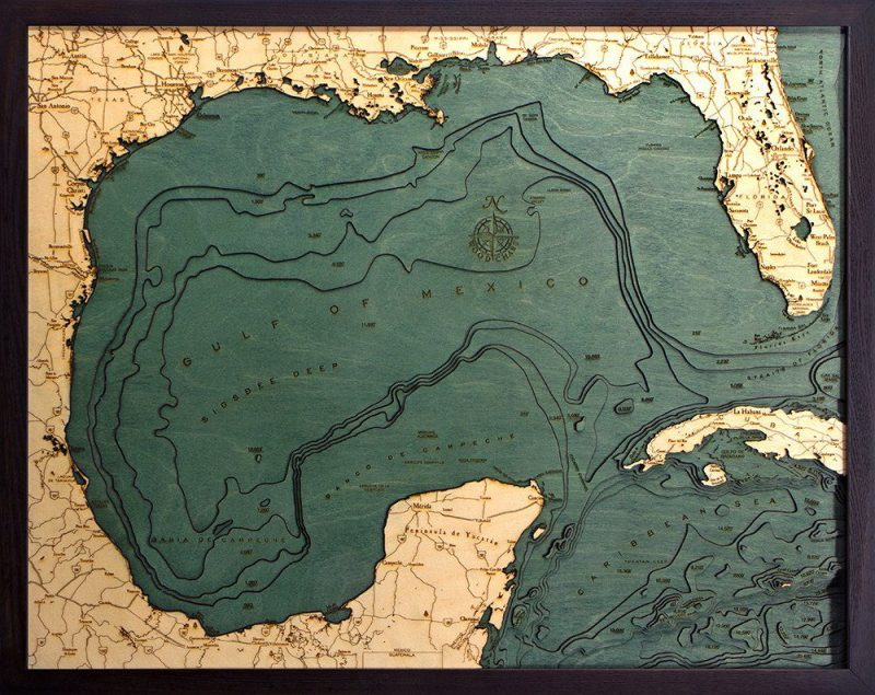 Gulf Of Mexico 3d Wood Chart