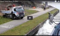 Watch: Truck Stuck in Mud Saved by Ship