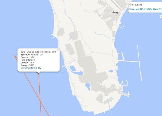 "Genscape Vesseltracker shows, ""Devon"" departed Khrag, Iran, on October 26 bound for India."