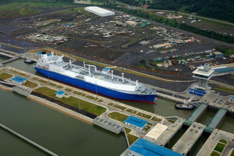 The Teekay LNG carrier Oak Spirit, destined for Japan, transits the Panama Canal earlier this year carrying a cargo of U.S. Shale gas exported from Cheniere's Sabine Pass terminal. Photo credit: Teekay