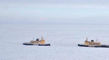 Russian Vessel Convoy Beset in Ice in Northeast Passage
