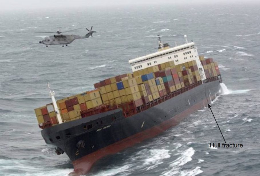 MSC Napoli after suffering catastrophic hull damage in the English Channel in January 2007. Photo: UK MAIB