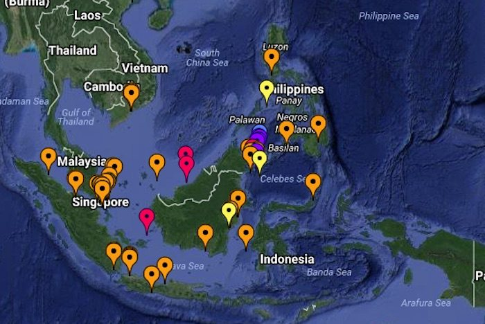 International Maritime Bureau map showing reported incidents of piracy in southeast Asia during 2016. Image: IMB Piracy Reporting Centre